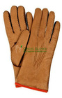 Ladies' deer skin winter gloves warm gloves, hand sewn leather glove, with piping in cotrast color