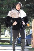 Mink Lynx Fur Jacket Black Sizes