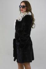 Black Velvet Saga Mink Fur Coat with Lynx Fur Collar