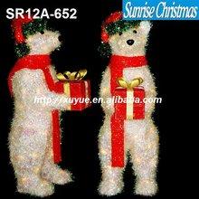[2012 New] Sparkling LED christmas polar bear with gift box (Outdoor MOQ: 200PCS,GS/CE/UL)