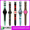 factory customer's custom full design printed strap or sandwich PVC,PU band swatchful plastic watches