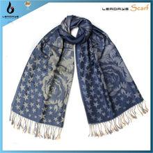 fashion lady flower star jaquard shawl pashmina