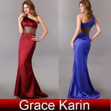 Grace Karin Long Satin One Shoulder Formal Evening Gown CL2020