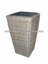 Square rattan plastics pots with black plastic pots inside, iron frame, gray color.