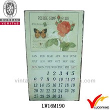 2013 hot selling antique shabby wall art rose and butterfly calendar