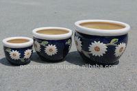 CP-13001-3A Set of 3 enamel color Sun Flower Pots/ enamel pots