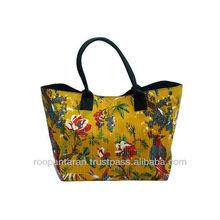 Cotton Kantha Flower Bird Printed Ceylon Yellow Shopping Bag