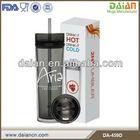 16oz plastic cold drinking coffee bottle wih straw