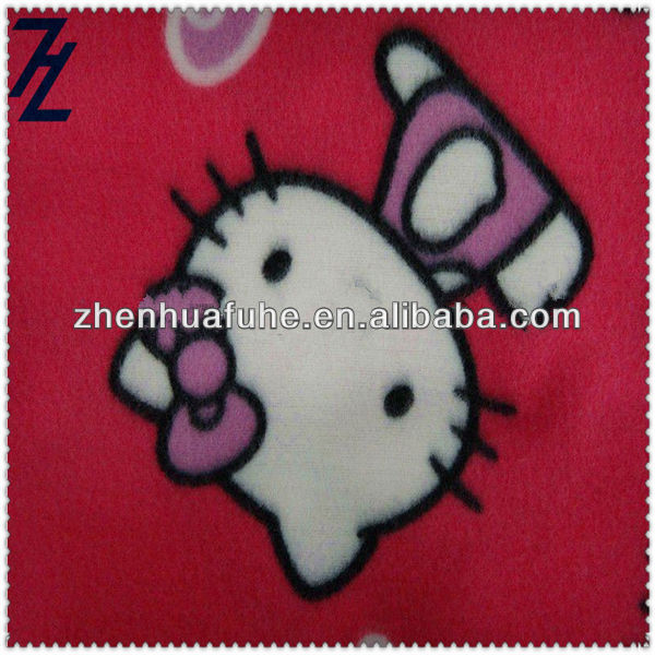 100% Polyester Cat Print Brush Polar Fleece Fabric