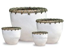 WP13005 - Home Decorators - Ceramic planters with rattan weaving