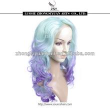 Hot selling top fashion wholesale price mixed color mint green and purple synthetic lace front wigs