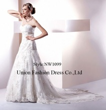 Elegant crystal beaded sweetheart backless lace Cathedral Train wedding dresses by crystal trade co. ltd