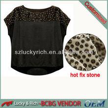 2014 China supplier 100% silk round neck designs for ladies tops