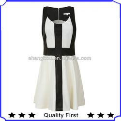 black and white cross panel stitched swing dress party dress