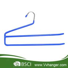 metal clothes hanger stand, MHP005 2-tier PVC Coated multifunction as pants hanger/ scarf hanger/ towel hanger