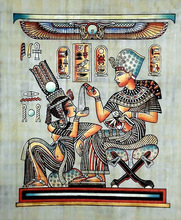 Egyptian Papyrus Paintings, Tut Pouring perfume into his wife palm 2
