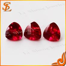 Wuzhou Wholesale fat triangle Shape Loose synthetic 5 # Ruby stone