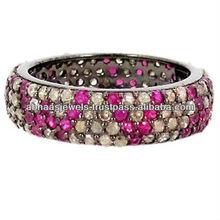 Spianare diamante 925 anello in argento, argento 925 diamante rubino gemma moda gioielleria anello fascia