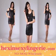 Wholesale xxxl sexy tight black leather dress for sale