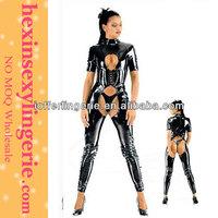Atrracting New Woman Black Leather Corset Bodysuit