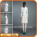 2014 blanco de la moda de las señoras traje de invierno las mujeres vestido de chaqueta