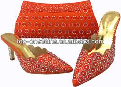 2014 new fashion wholesale orange shoe and bag matching sets for women(TSH143