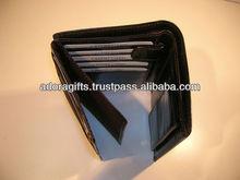 ADALW - 0057 tri fold ladies hand purses / genuine black leather women wallets / latest design ladies purses