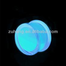 Acrylic Blue Liquid Glow in the dark Saddle Tunnel Plug Gauge Body Piercing Jewelry