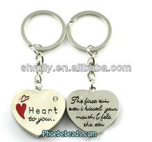 Wholesale Hottest Metal Engraving Letters Couple Heart Shape Key Chain PB-KC001