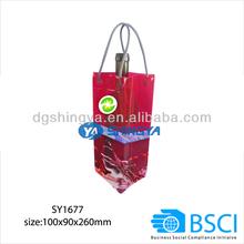 transparent red PVC wine ice cooler bag for 1bottle