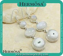Xmas GIFTS Exotic Genuine White Solar Quartz Moonstone Silver Gemstone Earring N4124