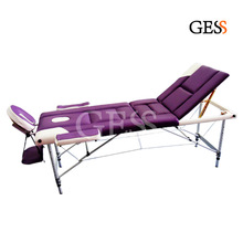 Gess-2503 Stock Price Duluxe PU Three Folding Spa Facial Tattoo Bed Portable Massage Table