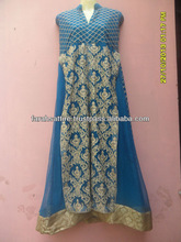 Long Embroidered Gown with Front Open