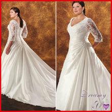 Fashion V-neck Applique Beading Satin Long Train Plus Size Wedding Dresses with Sleeves