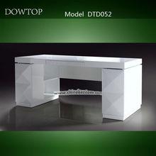 High end white high gloss l shaped office desk