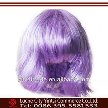 Hot selling best quality new popular fashion style cheap kanekalon purple party wigs