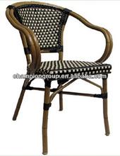 aluminum bamboo look PE wicker chair