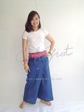 100% Thai Cotton Gypsy Hippie Pants Royal Blue Long Wrap Trouser with Thai Pattern Rim Fashion Pants