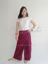 100% Thai Cotton Island Beach Maroon Long Wrap Trouser Message Yoga Pants