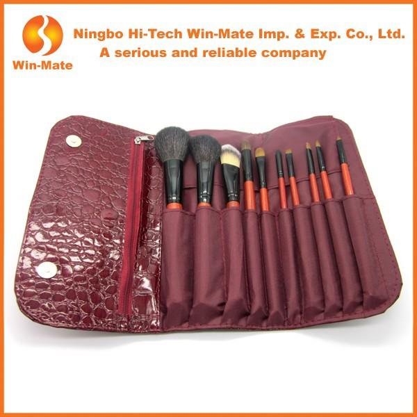 Hot, Purple 10 Pcs Make Up stylist Tools, cracked Bag For Makeup Brush