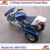 "Pocket Bike Gasoline MN-P301 2 stroke 49cc Pull Start Max Speed 60km/h with 10"" rubber 3 wheel"