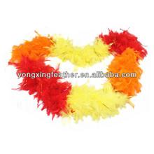 handmade rainbow feather boa with golden lurex