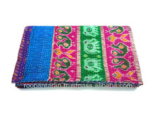 QUEEN Patola Silk Kantha Quilt Patchwork IN STRIPES Blanket