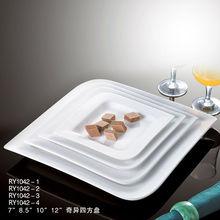 Hot sale dishwasher safe unique shape plain white square crockery for restaurants