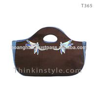 Dragonfly hand embroidery taffeta silk bag T365