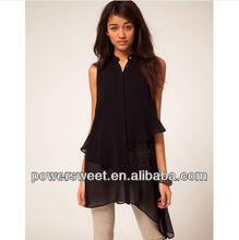 new model of ladies fashion irregular medium pattern printed sleeveless girl t shirt