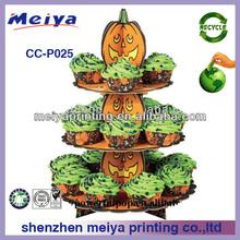 Halloween pumpkin promotional cupcake stand,cardboard cake stand,attarctive capcake display