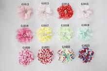 "2.5"" Chiffon Shabby Flower hand sewn With Crystal Center"