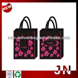 Black Fashion Nonwoven Foldable Recycle Bag, Wholesale Folding Shopping Bag