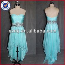 fashion short front long back beaded sweat heart bule chiffon prom dress